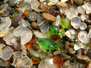 glass on beach